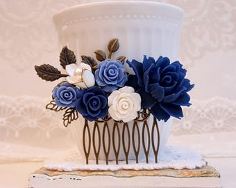 Navy blue rose Blue and white bridal come Shabby chic Country wedding hair comb Assemblage comb Something blue