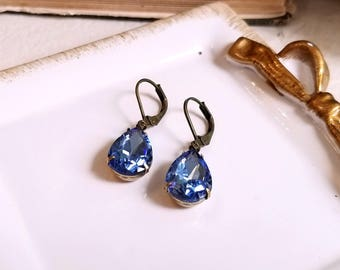 Sparkling pear shape teardrop periwinkle blue crystal drop earrings Leverback earwires Vintage inspired Gift earrings