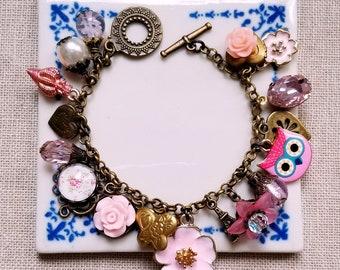 Locket charm bracelet Pink charms Cha cha bracelet Flowers bracelet Charms bracelet Owl and pearl charms bracelet