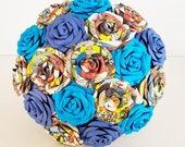Marvel superhero comic book blue aqua any colour groom buttonhole bride comic con theme Paper wedding bouquet flower origami rose