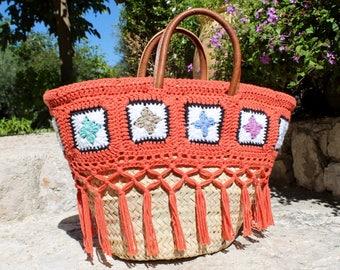 panier osier 'HORUS' crochet carreaux multicolores et terre orangée