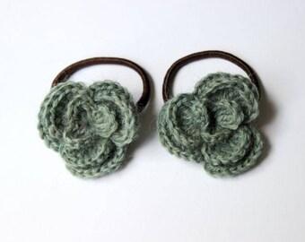 Elastiques pour cheveux fleur - Verte -
