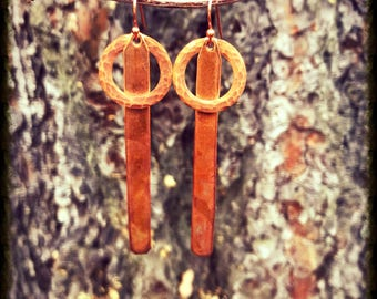 Thin Rectangle and Copper Circle Earrings
