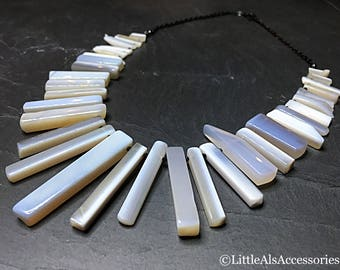 Blue Opal Necklace, Pale Blue Opal Fan Necklace, Opal Necklace, Cleopatra Style, Opal Bib Necklace, Opal Jewelry, October Birthstone, Gift