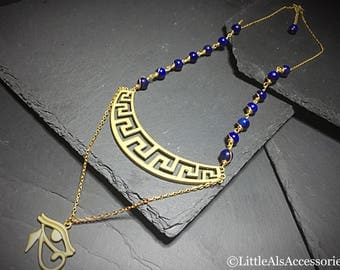 Gold Plated Egyptian Necklace, Lapis Necklace, Eye Of Horus, Gold Filled Egyptian Necklace, Lapis Jewelry, Egyptian Jewelry, Wife Gift