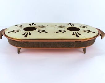 Vintage Copper and Brass Finish Warming Plate Hot Plate with Wooden Handles Food Warmer