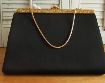 Vintage After Five Little Black Purse Handbag Ornate Gold Tone with Rhinestone Frame and Attached Change Purse Classic Black Evening Bag
