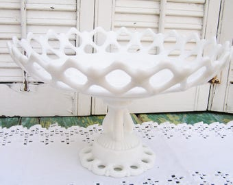 Vintage White Milk Glass Westmoreland Lattice Compote Doric Lace Pedestal Compote Milk Glass Compote Westmoreland Milkglass Bowl