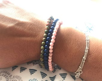 Simple beautiful stackable beaded bracelets