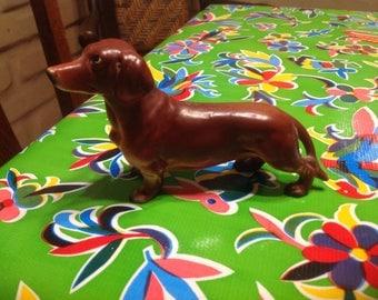 Vintage hand painted ceramic dachshund figurine- Japan