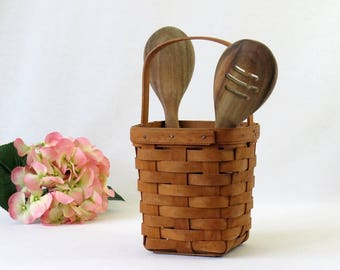 Longaberger Stationary Handle Utensil Basket, 1991 Signed & Stamped, USA Made, Split Oak Handwoven, Dresden Ohio