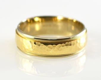 14K Yellow and White Solid Gold Two Tone Hammered Band Size 11