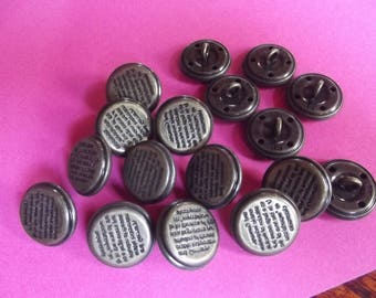 10 buttons 20mm diam metal bronze color to tail