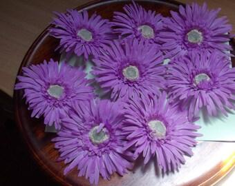 ASTERS diameter 12 cm, fabric, sold x 8 units, purple