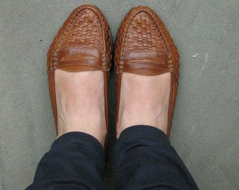 Vintage woven shoes - woman's - leather