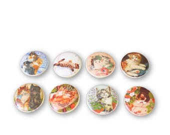 Set of 8 Cats Print Cabinet Knobs