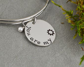 You Are My Sunshine Adjustable Bangle Bracelet - Stacking Bangle