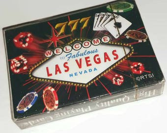 Vintage Fabulous LAS VEGAS Playing Cards Nevada Souvenir Gambling Casino Card Deck Vegas Ephemera SEALED Black Jack Card Game Gambler Gift