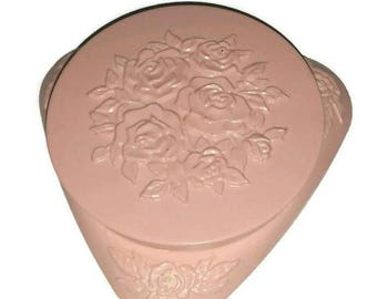 Vintage Shabby Chic Roses POWDER BOX 50s 60s AVON Makeup Mona Lisa Blush Cosmetics Beauty Vanity Case Floral Girly Pinup Boudoir Decor Gift