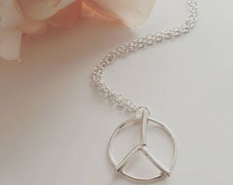 Handmade rustic silver peace sign necklace - peace necklace - silver peace sign