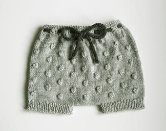 LEON Knitted Baby Shorts, Fine Wool Baby Diaper Cover, Merino Bloomers,Natural Baby Clothes, Size 0-3,3-6,6-12,12-24months,Made to Order