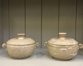 Celadon Stoneware Ceramic Lidded Soup Bowl Hand thrown