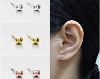 925 Sterling Silver Earrings, Ball Earrings, Dot Earrings, Gold Plated, Rose Gold Plated Earrings, Stud Earrings Size 4 mm (Code : EB75B)