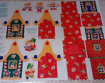 The Story of Christmas Hugs cut and sew Toyshop Box with appliques cotton fabric panel celebration gift