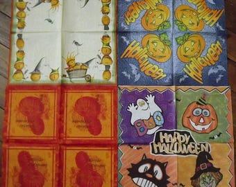 set of 4 Halloween themed paper napkins