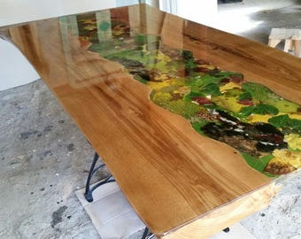 table wood and epoxy etsy. Black Bedroom Furniture Sets. Home Design Ideas