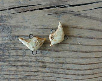 Tiny Ceramic connectors -pendants Birds.Ceramic handmade