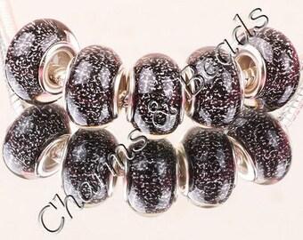 1 black glitter glass charm bead compatible pandor chamili silver
