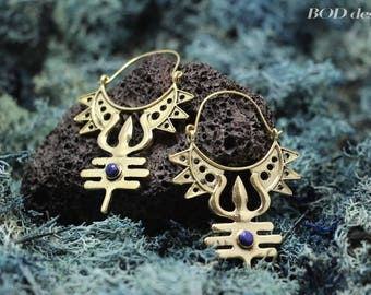 Trishula brass earrings