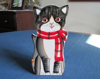 Vintage Christmas Hanging Ceramic Cat Box or Vase Made in Japan
