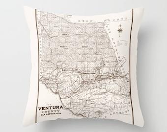 Ventura County Throw Pillow - Vintage Map - retro - Simi Valley, California, Moorpark, Thousand Oaks, decor, travel,  den, dorm, bedroom