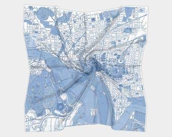 Washington DC Scarf , map of Washington DC - blue  - Conversation Piece women' s apparel scarf, colorful, beautiful, unique pocket square