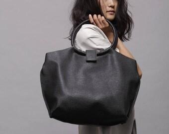 Handmade leather bags - Black leather bag - Soft leather tote bag - Nina bag