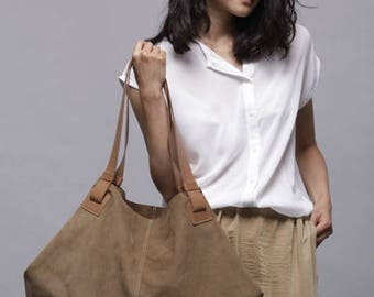 Light Brown leather bag- Soft leather bag - Big brown nubuck bag - Sac Purse - Oversize Handbag - Carolina