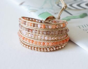 Coral Five Times Wrap Bracelet with Pink Gold Bead