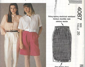 McCall's 4087  Misses Skirt, Shorts and Pants  Size 20    Uncut   C1989