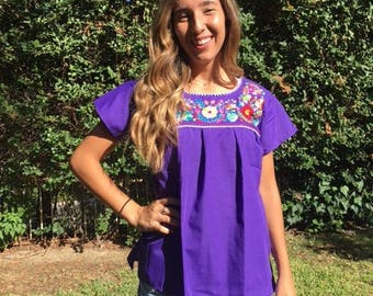 Embroidered blouse, Mexican blouse, Purple,Small,S,BoHo, blouse, top,Oaxaca,purple blouse, Indian,hupil