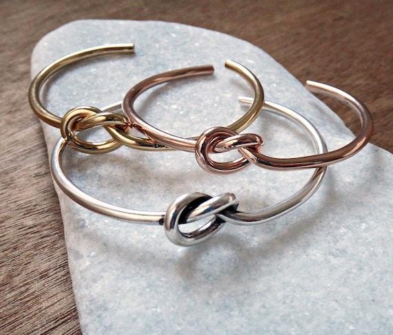 Knot Bangle Cuff Bracelet Set / Layered Bracelets / Gold, Rose Gold, Silver Plated Bangle / Handmade Bangle Stacked Bracelets