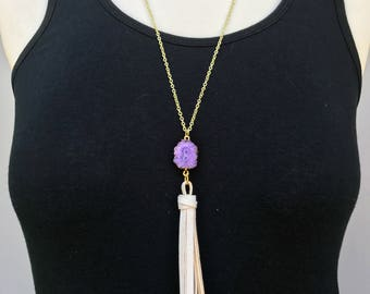 Purple Geode and White Leather Tassel Necklace, Infinity Sign Stone Necklace, Geode Leather Necklace, Wife Statement Gift, Free Shipping