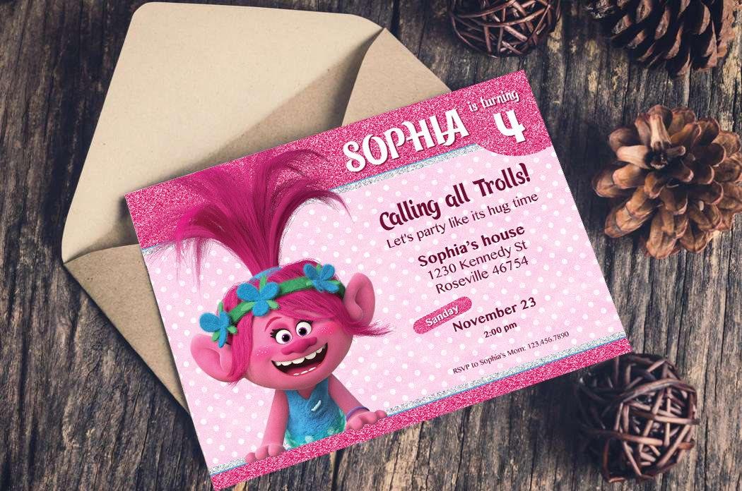 Trolls Birthday Invitation Instant Download Personalized Poppy Girl Party