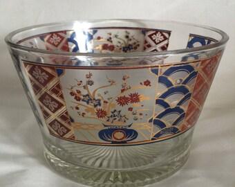 Vintage Culver Glass Ice Bucket Really Nice Barware Imari Asian 22KT Floral
