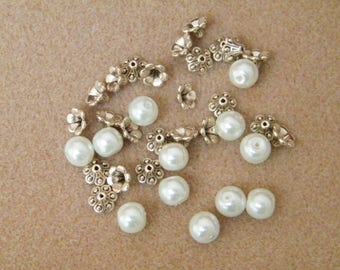 Beads, Indian silver beads and white glass pearl beads