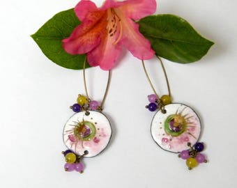 ACIDULEES - Earrings enamels on copper and glass beads - romantic, stud earring