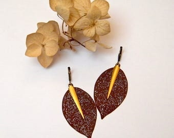 Minimalist earrings, leaf filigree charms, brass, women gift idea