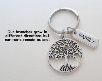 Family Tree Keychain, Family Reunion Gift Keychain, Family Keychain, Keychain for Mom, Gift for Mom, Tree of Life Keychain, Personalize Gift