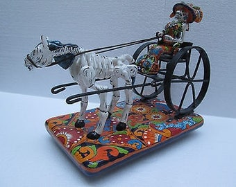 CATRINA ceramic hand painted carriage horse mexican folk art day of the dead